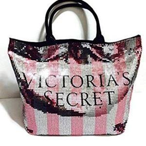 Victoria's Secret Iconic Stripe Sequin Tote NWT